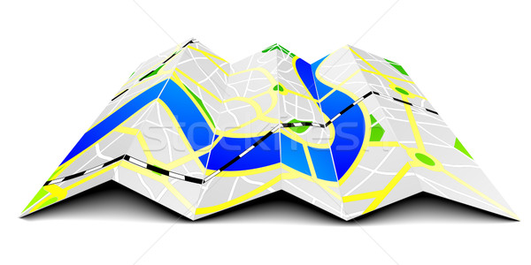 Stock photo: folded city map