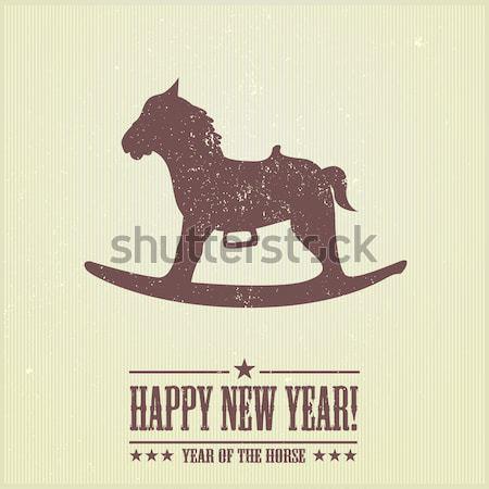 Noël cheval à bascule détaillée illustration stylisé grunge Photo stock © unkreatives