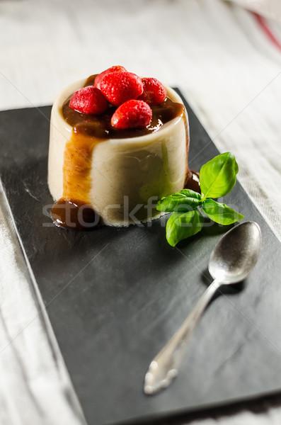 Strawberry Pannacotta With Spoon On Dish Stock photo © unkreatives