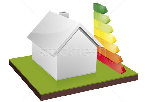 Huis energie-efficiëntie illustratie bars model home Stockfoto © unkreatives