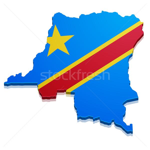 Mapa Congo detallado ilustración democrático Foto stock © unkreatives