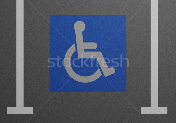 Mozgássérült parkolóhely részletes illusztráció kék tolószék Stock fotó © unkreatives