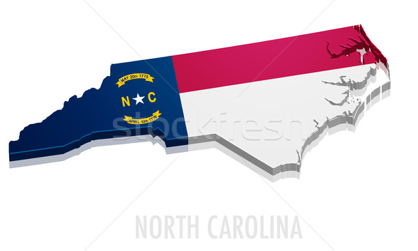 Kaart North Carolina gedetailleerd illustratie vlag eps10 Stockfoto © unkreatives