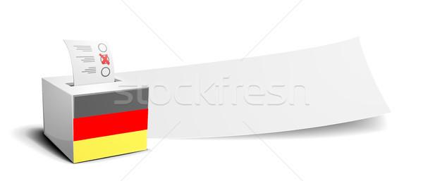 Foto stock: Bandeira · cédula · caixa · bandeira · vazio · eleição