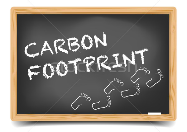 Blackboard carbon footprint gedetailleerd illustratie tekst eps10 Stockfoto © unkreatives
