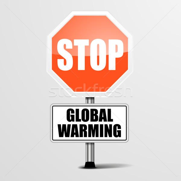 Durdurmak küresel isınma ayrıntılı örnek kırmızı imzalamak Stok fotoğraf © unkreatives