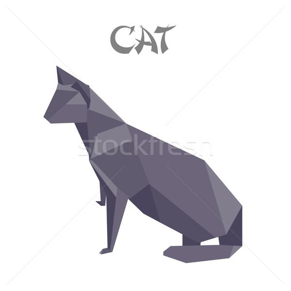 оригами кошки геометрический форма иллюстрация стороны Сток-фото © unkreatives