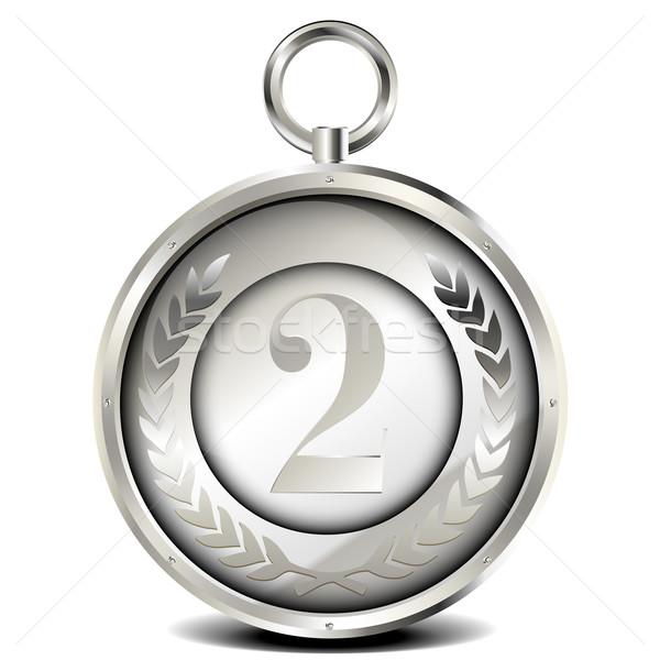 Argento medaglia illustrazione alloro ghirlanda numero Foto d'archivio © unkreatives