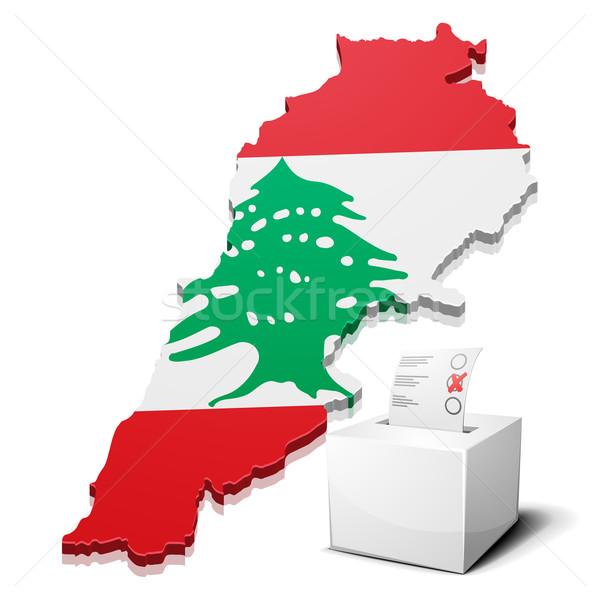 Lübnan ayrıntılı örnek harita eps10 vektör Stok fotoğraf © unkreatives