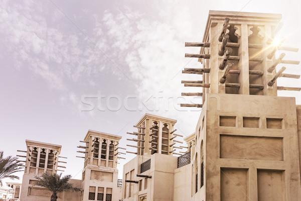 Tradycyjny arabski budynków historyczny słońce niebo Zdjęcia stock © unkreatives