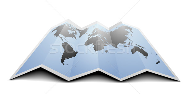 Foto stock: Mapa · do · mundo · ilustração · dobrado · papel · projeto · oceano