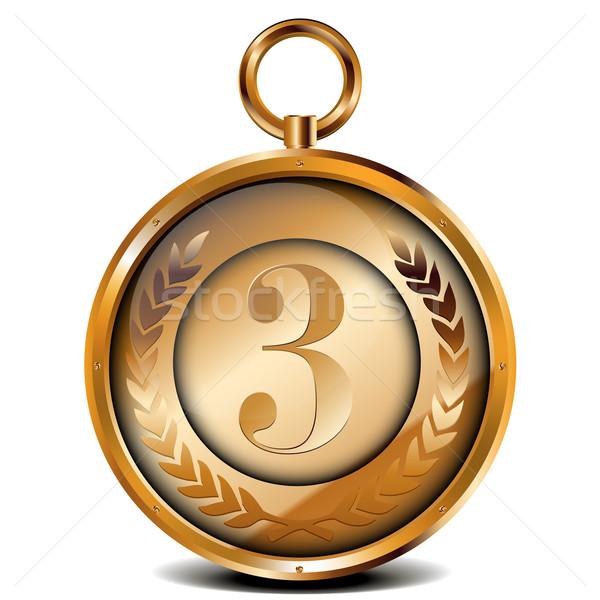 Bronze médaille illustration laurier couronne nombre Photo stock © unkreatives