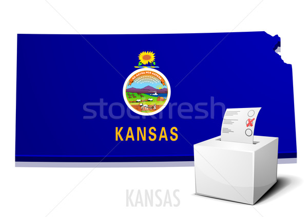 Kaart Kansas gedetailleerd illustratie eps10 vector Stockfoto © unkreatives