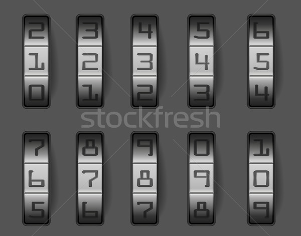 Zamek szyfrowy ilustracja inny numery eps bezpieczeństwa Zdjęcia stock © unkreatives