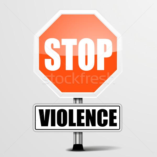 Stockfoto: Stoppen · geweld · gedetailleerd · illustratie · Rood
