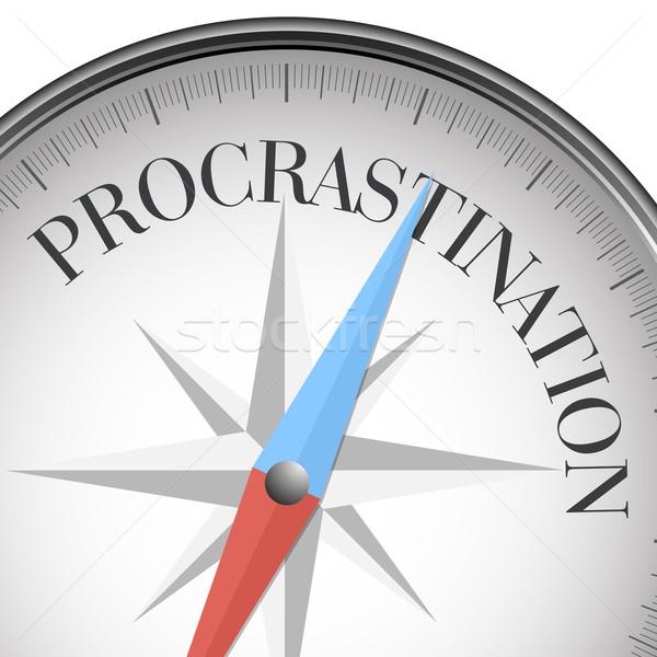 Bússola procrastinação detalhado ilustração texto eps10 Foto stock © unkreatives