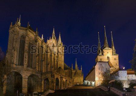 Cattedrale due montagna notte cielo costruzione Foto d'archivio © unkreatives