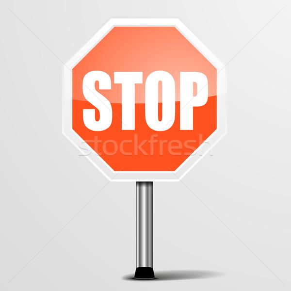 Piros stoptábla részletes illusztráció eps10 vektor Stock fotó © unkreatives