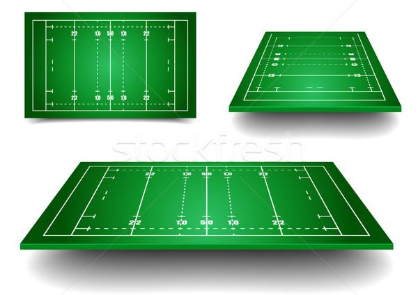 Rugby Felder detaillierte Illustration Perspektive eps10 Stock foto © unkreatives