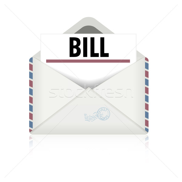 Open envelop Bill gedetailleerd illustratie facturering Stockfoto © unkreatives