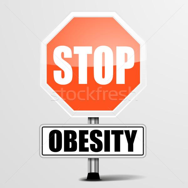 Arrêter obésité détaillée illustration rouge signe Photo stock © unkreatives