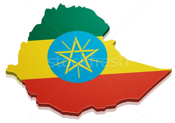 карта Эфиопия подробный иллюстрация флаг eps10 Сток-фото © unkreatives