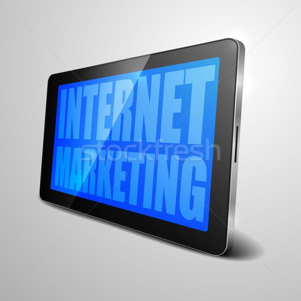 Tabletka marketing internetowy szczegółowy ilustracja urządzenie Zdjęcia stock © unkreatives