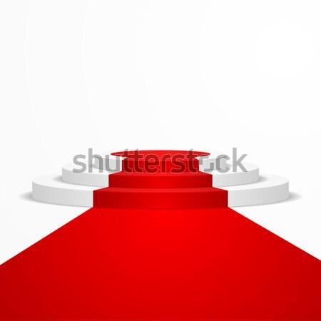 Foto d'archivio: Podio · tappeto · rosso · illustrazione · eps10 · vettore
