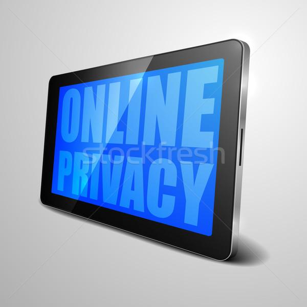 Tabletka online prywatność szczegółowy ilustracja Zdjęcia stock © unkreatives