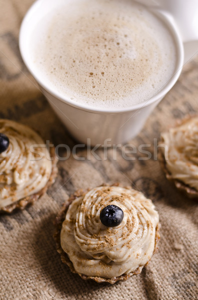 raw food cupcakes with a cup of coffee Stock photo © unkreatives