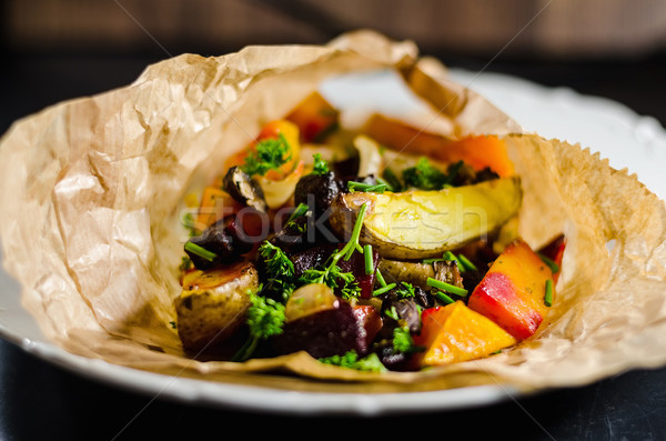 Baked Vegetables In Plate Stock photo © unkreatives