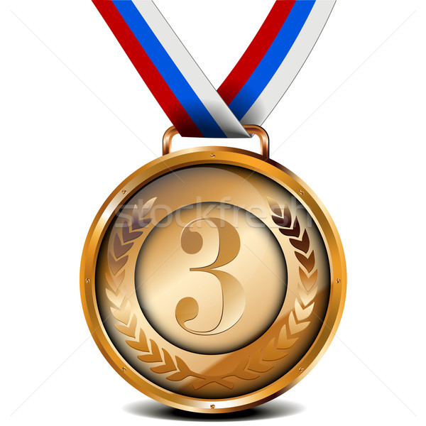 Bronze médaille ruban illustration laurier couronne Photo stock © unkreatives