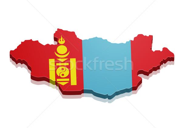 Kaart Mongolië gedetailleerd illustratie vlag eps10 Stockfoto © unkreatives