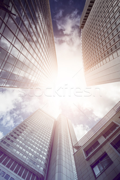 Bureau soleil immeubles de bureaux Francfort principale Photo stock © unkreatives