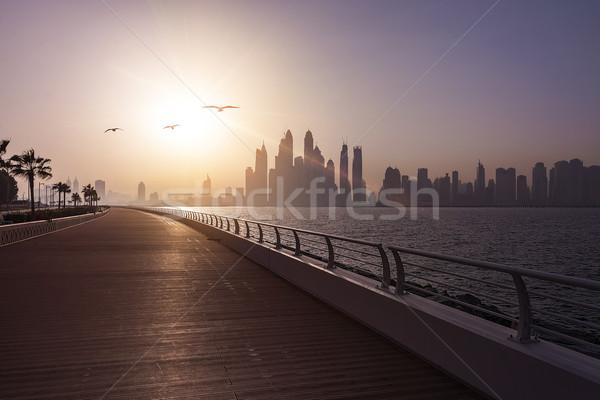 Dubai skyline vuota mattina sole business Foto d'archivio © unkreatives