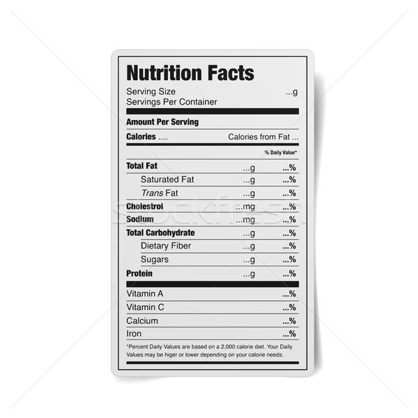 Táplálkozás tények címke részletes illusztráció feketefehér Stock fotó © unkreatives