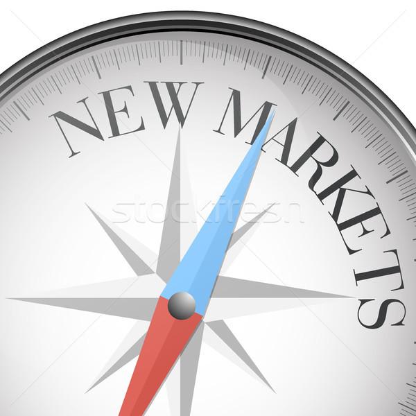Foto stock: Bússola · novo · mercados · detalhado · ilustração · texto