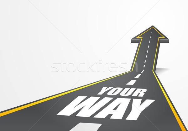 Weg gedetailleerd illustratie snelweg omhoog pijl Stockfoto © unkreatives