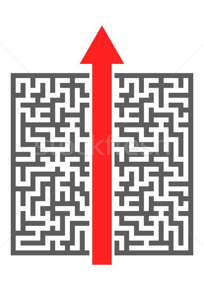 Labirintus piros nyíl vág bonyolult eps10 Stock fotó © unkreatives