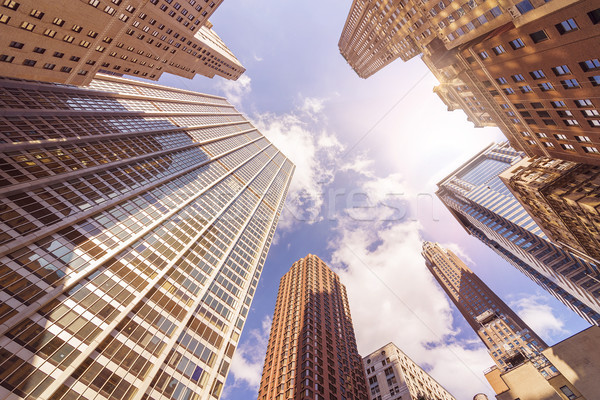 Többszörös iroda alulról fotózva lövés futurisztikus üveg Stock fotó © unkreatives