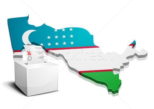 Özbekistan ayrıntılı örnek harita eps10 vektör Stok fotoğraf © unkreatives