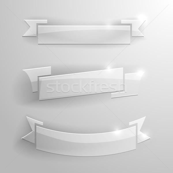Verre bannières détaillée illustration Photo stock © unkreatives