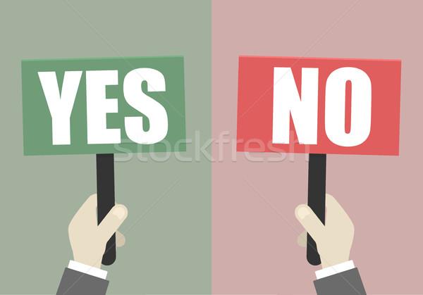 Znaki tak nie ilustracja ręce Zdjęcia stock © unkreatives
