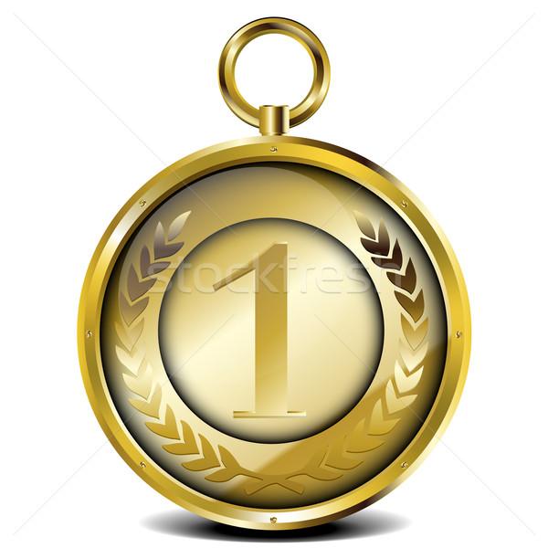 Dorado medalla ilustración laurel corona número Foto stock © unkreatives