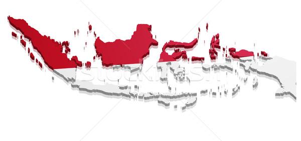 地図 インドネシア 詳しい 実例 フラグ eps10 ストックフォト © unkreatives