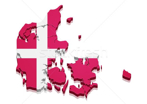 Mapa Dinamarca detalhado ilustração 3D bandeira Foto stock © unkreatives