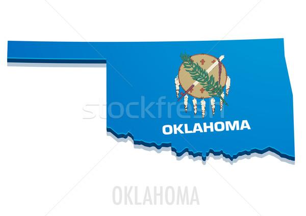 Kaart Oklahoma gedetailleerd illustratie vlag eps10 Stockfoto © unkreatives