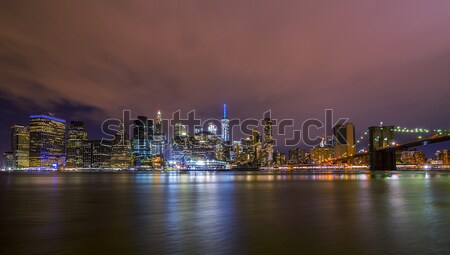 Downtown Manhatten Skyline at Night Stock photo © unkreatives