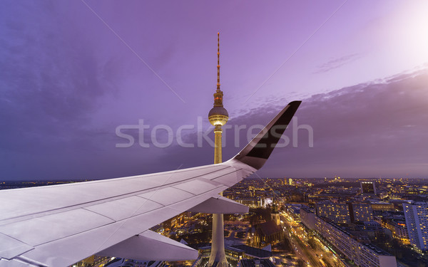 Airplane Wing Berlin Skyline Stock photo © unkreatives