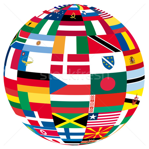 flags on a globe Stock photo © unkreatives